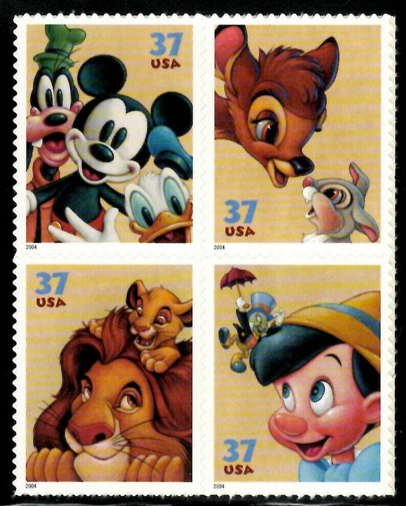 2004 Disney Friendship Block Of 4 37c Postage Stamps- Sc# - 3865-3868 - MNH, OG - CX742