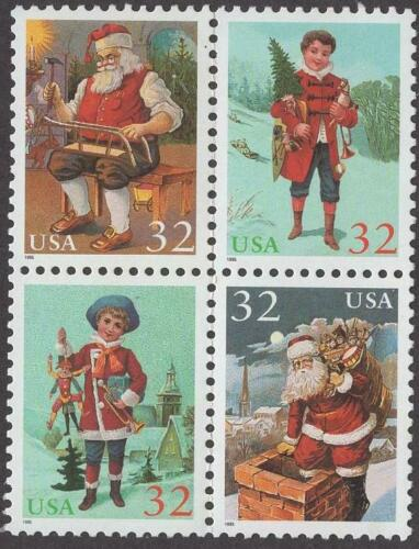 1995 Christmas Santa & Children Block of 4 32c Postage Stamps - MNH, OG - Sc# 3007
