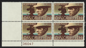1975 DW Griffith Film Director Plate Block of 4 10c Postage Stamps - MNH, OG - Sc# 1555