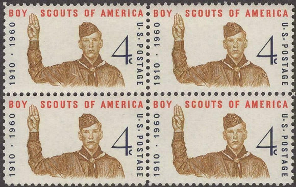 1960 Boy Scouts Block Of 4 4c Postage Stamps - Sc# 1145 - MNH, OG - CX500a