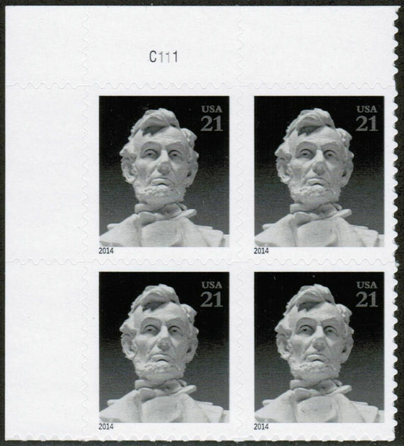 2014 Statue of Abe Lincoln Plate Block of 4 21c Postage Stamps - MNH, OG - Sc# 4860