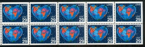 1991 Love/Globe Booklet Pane Of 10 29c Postage Stamps - Sc# 2536 - MNH, OG - CX535