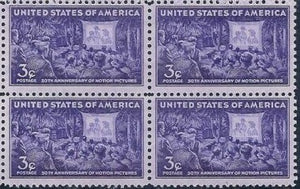 1944 Motion Pictures 50th Anniversary Block Of 4 3c Postage Stamps - Sc# 926 - MNH - CV40