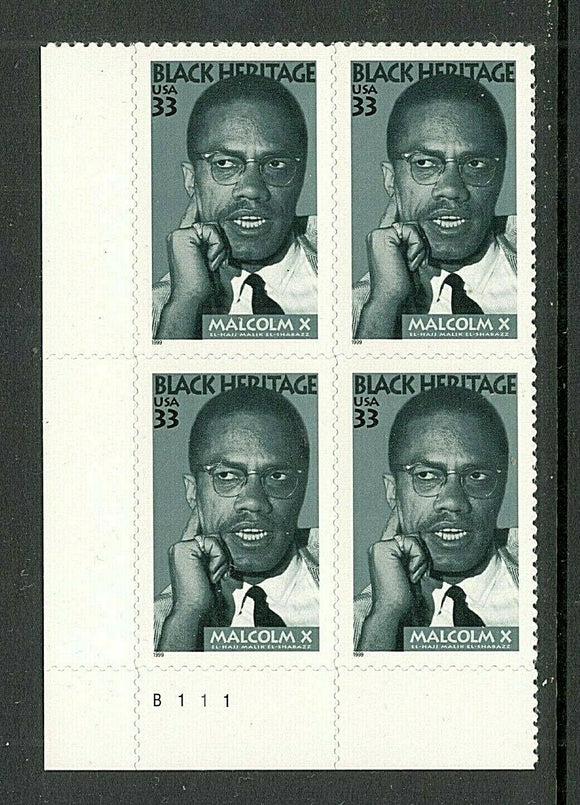 1999 - Malcolm X Plate Block Of 4 33c Stamps - Sc# 3273 - MNH, OG - CX648