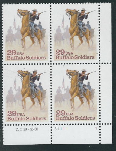 1994 Buffalo Soldiers Black Heritage Plate Block Of 4 29c Postage Stamps - Sc# 2818 - MNH, - CW365a