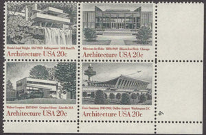 1982 Architecture Plate Block Of 4 20c Postage Stamps - Sc 2019-2022 - MNH - CW482b