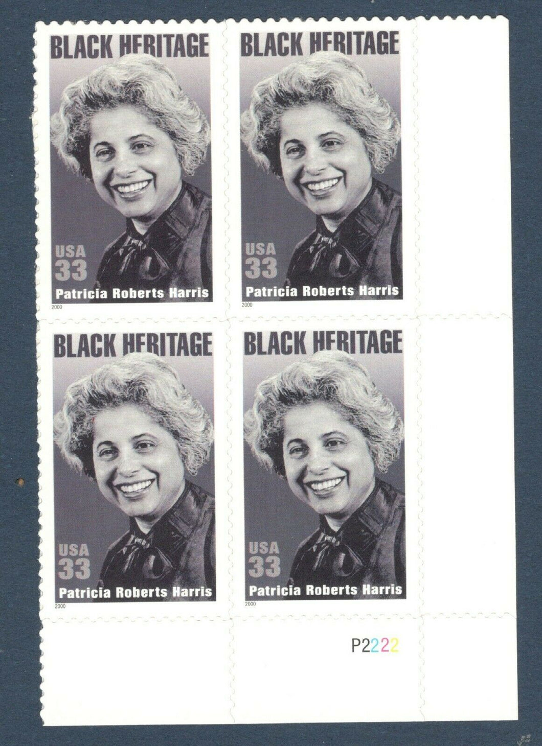 2000 - Patricia Harris Plate Block Of 4 33c Postage Stamps - Scott# 3371 - MNH, OG - CX856