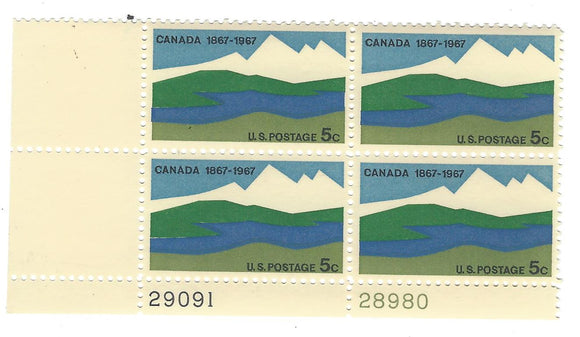 1967 Canada Plate Block Of 4 5c Postage Stamps - MNH, OG - Sc# 1324`- CX228