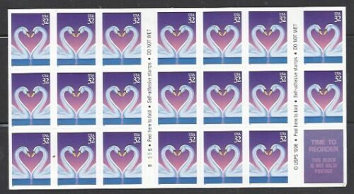 1997 Swans Love Issue Booklet Pane Of 20 32c Postage Stamps - Sc# 3123- DR121