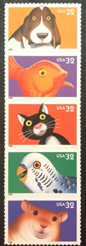 1998 Bright Eyes Pets Strip Of 5 32c Postage Stamps - Sc# 3230-3234 - MNH - CX795