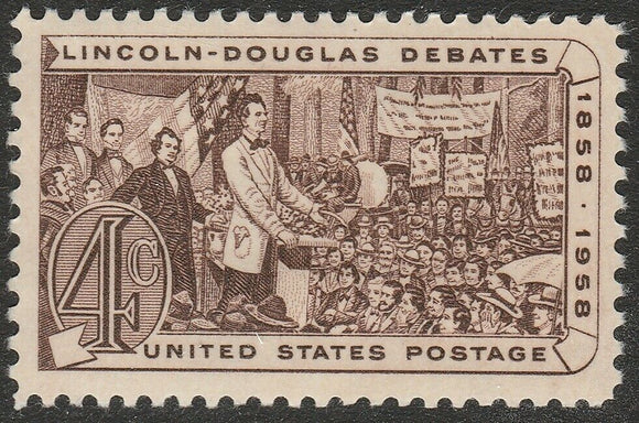 1958 Lincoln Douglas Debates Single 3c Postage Stamp - Sc# 1115 - MNH, OG - CX870a