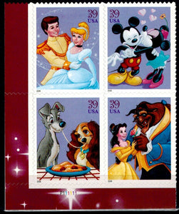 2006 Disney Romance Plate Block Of 4 39c Postage Stamps -Sc# 4025-4028 - MNH - CX803