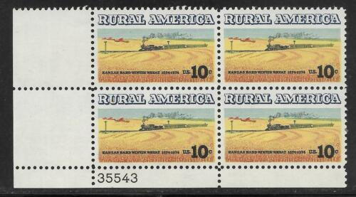 1974 Rural America Kansas Winter Wheat - Plate Block of 4 10c Postage Stamps - Sc# - 1506 - MNH, OG - CX683