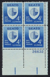 1960 SEATO Plate Block of 4 4c Postage Stamps - MNH, OG - Sc# 1151