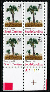 1988 South Carolina - Constitution Ratification Plate Block Of 4 25c Stamps - Sc 2343 - MNH, OG - CX869a