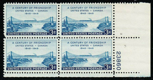 1948 Century Of Friendship Canada Plate Block of 4 3c Postage Stamps - MNH, OG - Sc# 961