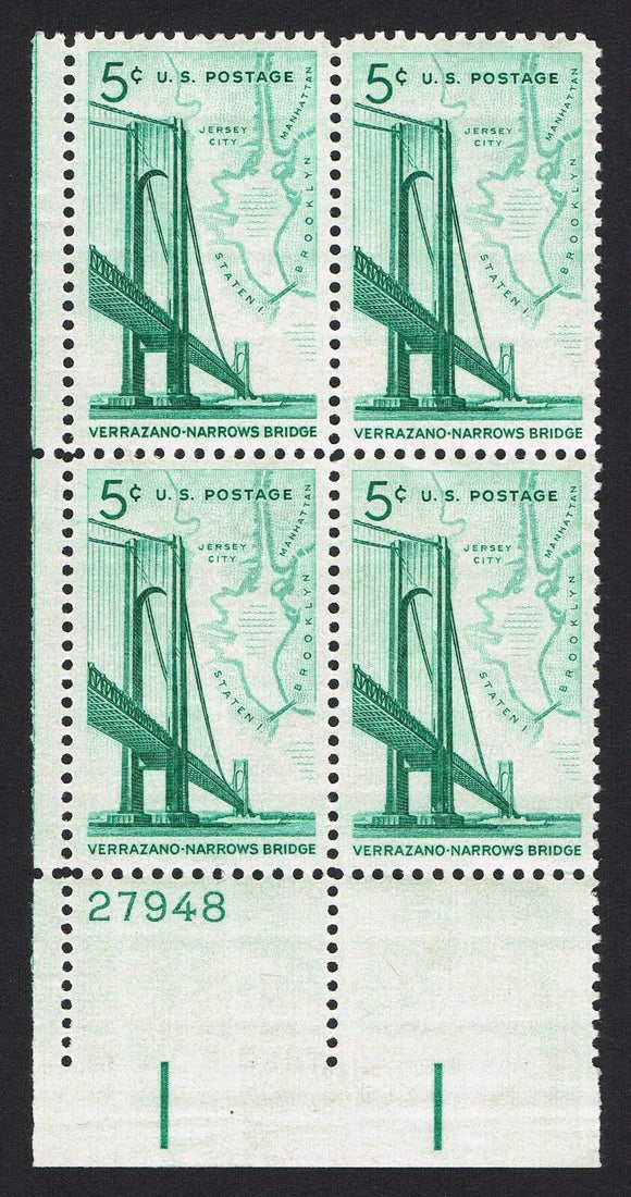 1965 Verrazano-Narrows Bridge, New York Plate Block Of 4 5c Postage Stamps - MNH, OG - Sc# 1258 - CX283