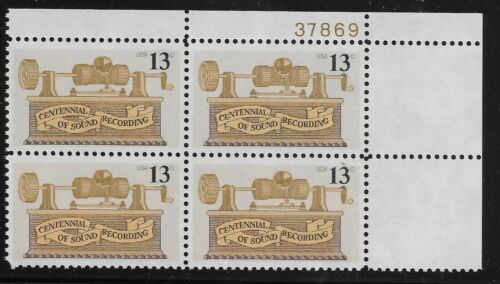 1977 Centennial Of Sound Recording Plate Block Of 4 13c Postage Stamps - MNH, OG - Sc# 1705 - CX341
