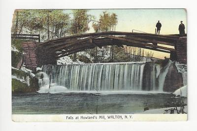 Posted 1911 USA Postcard - Falls At Howland's Mill, Walton, NY (AT88)