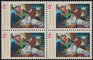 1976 Christmas Nativity Copley Painting Block Of 4 13c Postage Stamps - Sc# 1701 - MNH - CW446c