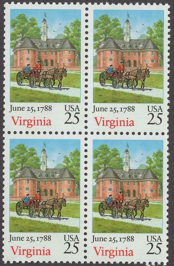 1988 Virginia - Constitution Ratification Block Of 4 25c Postage Stamps - Scott# 2345 - MNH, OG - CW320a