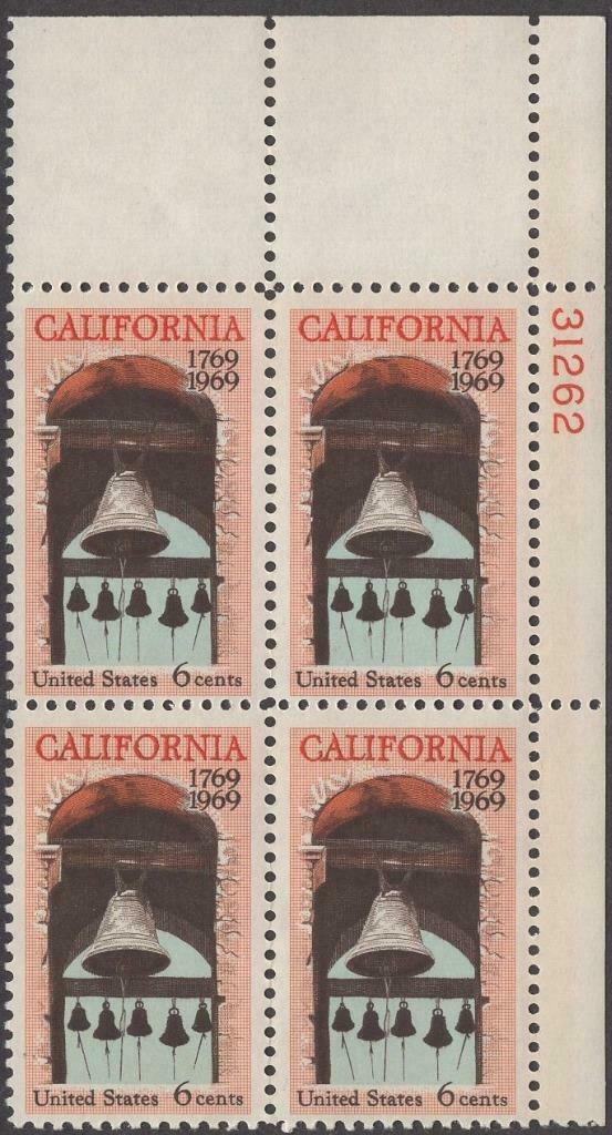 1969 California Plate Block Of 4 6c Postage Stamps - MNH, OG - Sc# 1373 - CX358
