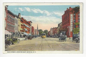 Posted 1920 USA Postcard - Main Street, Batavia, NY (AT74)