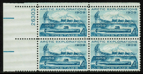 1959 Arctic Explorations Plate Block of 4 4c Postage Stamps - Sc# - 1128 - MNH, OG - CX689