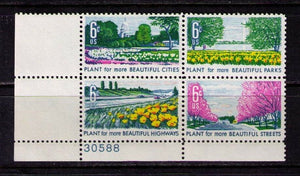 1969 Beautification Of America Plate Block Of 4 6c Postage Stamps - MNH, OG - Sc# 1365-1368 - CX353