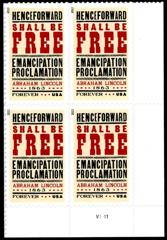 2013 150th Anniversary Emancipation Proclamation Plate Block Of 4 Forever Postage Stamps - MNH, OG - Sc# 4721