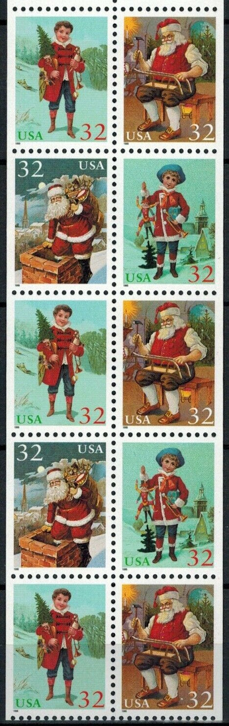 1995 Christmas Santa & Children Booklet Pane of 10 32c Postage Stamps - MNH, OG - Sc# 3007b