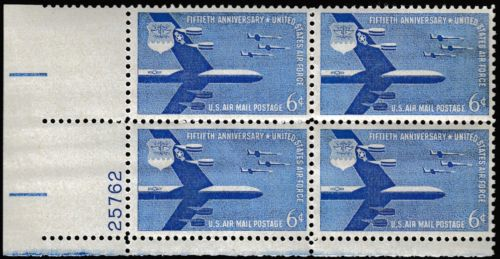 1957 50th Anniversary Of Air Force Airmail Plate Block Of 4 6c Postage Stamps - Sc C49 - MNH - (CT81)