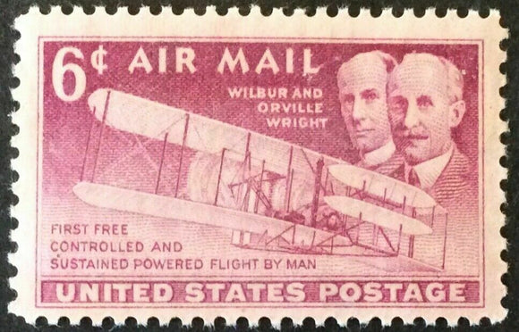 1949 Wright Brothers Airmail Single 6c Postage Stamp - Sc C45 - MNH, OG - CW400b