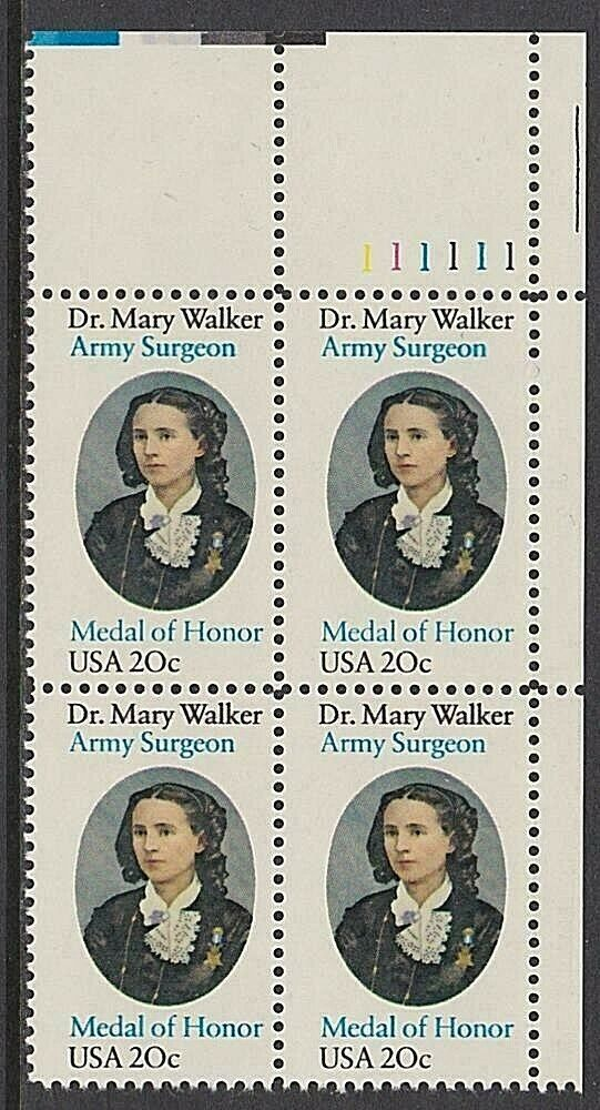 1982 Dr. Mary Walker, Army Surgeon Plate Block of 4 20c Postage Stamps - MNH, OG - Sc# 2013