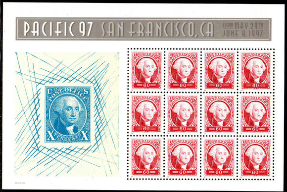 1997 Pacific 97 George Washington Replica Stamp Sheet Of 12 60c Postage Stamps MNH, OG - Sc # 3140- (CW55)