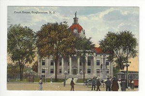 Posted 1917 USA Postcard - Court House Street Scene, Binghamton, NY (AT81)