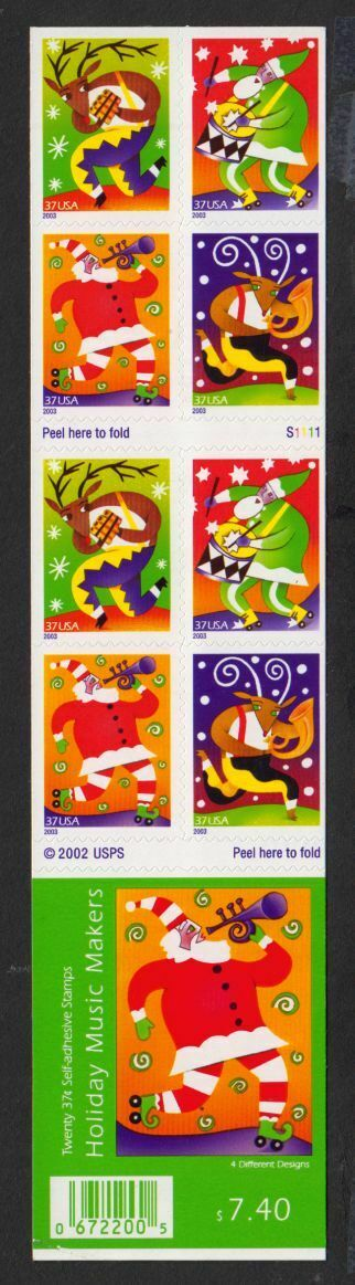 2003 Christmas Holiday Music Makers Booklet Of 20 37c US Postage Stamps - Sc# 3824B - DG107