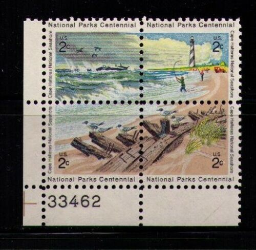 1972 National Parks Centennial Cape Hatteras Plate Block Of 4 2c Postage Stamps - Sc# 1448-1451 - MNH, OG - CX521