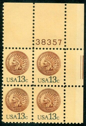 1978 Indian Head Penny Plate Block of 4 13c Postage Stamps - MNH, OG - Sc# 1734