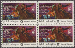 1975 Sybil Ludington Contributors To The Cause Block Of 4 8c Postage Stamps - Sc# 1559 - MNH, OG - CT78a