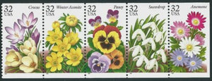 1996 Crocus & Other Garden Flowers Booklet Pane of 5 Postage Stamps Sc# 3025-3029 - MNH, OG - CW287
