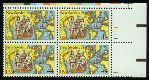 1988 Settling Of New Sweden Airmail Plate Block Of 4 44c Postage Stamps - MNH, OG - Sc# C117 - BC49a