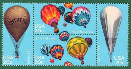 1983 Hot Air Balloons Block Of 4 20c Postage Stamps - Sc 2032-2035 - CW209