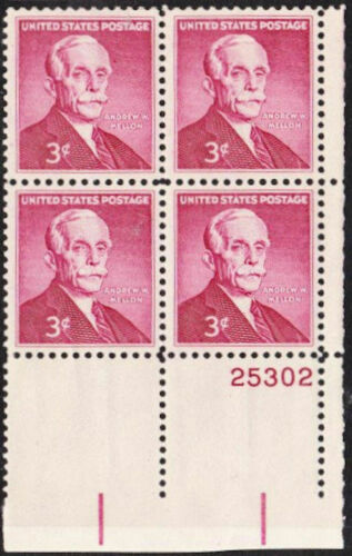 1955 Andrew Mellon Plate Block of 4 3c Postage Stamps - MNH, OG - Sc# 1072