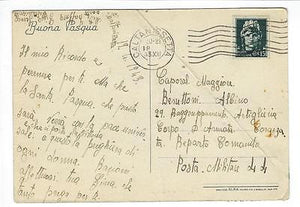1943 WW2 Facist Italy Military Postcard - With US Military Censor Tape (NN131)