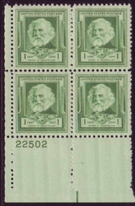 1940 Henry Wadsworth Longfellow Plate Block of 4 1c Postage Stamps - MNH, OG - Sc# 864