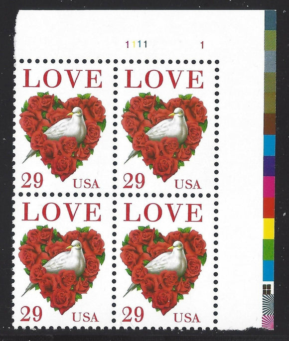 1994 Love Bird Valentine's Plate Block of 4 29c Postage Stamps - MNH, OG - Sc# 2814