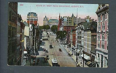 VEGAS - Early 1900s Postcard Albany, NY - State Street West From Broadway -FD356