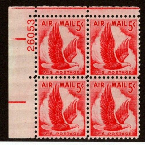 1958 Eagle in Flight Plate Block Of 4 5 c Airmail Stamps Scott C50 - CW398a