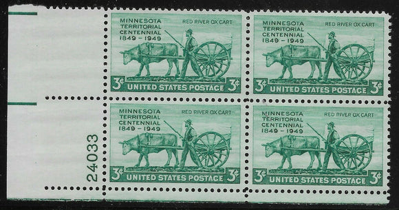1949 Minnesota Territory Plate Block of 4 3c Postage Stamps - MNH, OG - Sc# 981